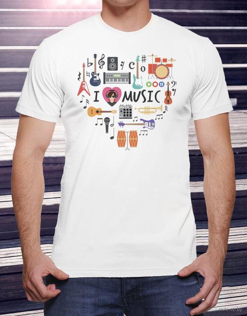 """Футболка мужская """"Love music"""" (размер 46; арт. 15) — фото, картинка"""