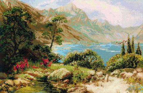 """Вышивка крестом """"Горное озеро"""" (600х400 мм) — фото, картинка"""