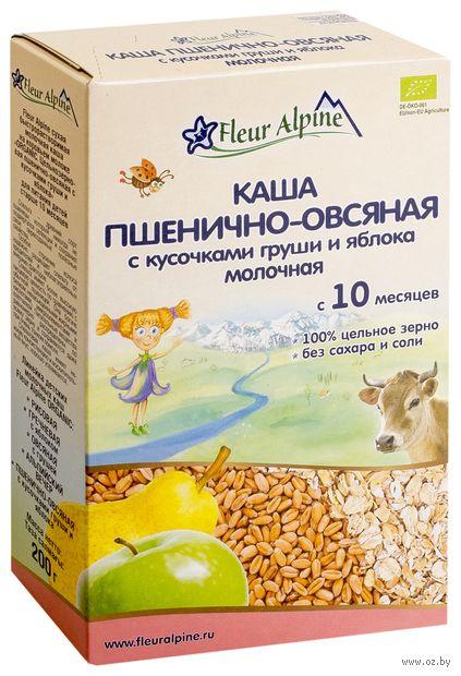"""Детская каша Fleur Alpine Organic """"Молочная пшенично-овсяная с кусочками груши и яблока"""" (200 г) — фото, картинка"""