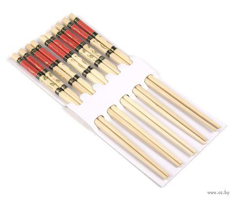Набор палочек для еды деревянных (5 пар, 22,5 см)