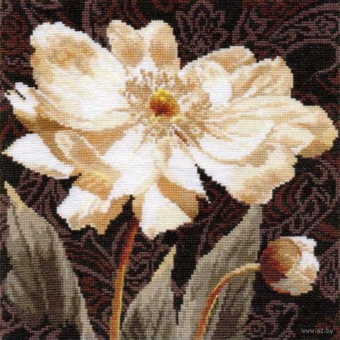 """Вышивка крестом """"Белые цветы. В объятиях света"""" (250х250 мм) — фото, картинка"""