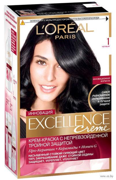 """Крем-краска для волос """"Excellence"""" (тон: 1, черный) — фото, картинка"""
