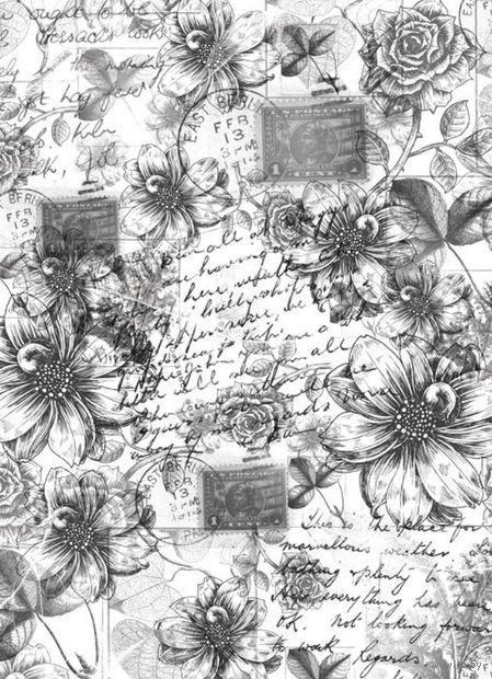 """Калька с принтом """"Винтажные георгины и розы"""" (А4) — фото, картинка"""
