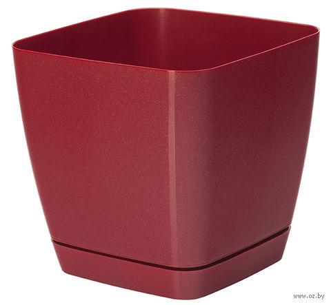 """Цветочный горшок """"Тоскана"""" (13х13х12,5 см; красный металлик) — фото, картинка"""