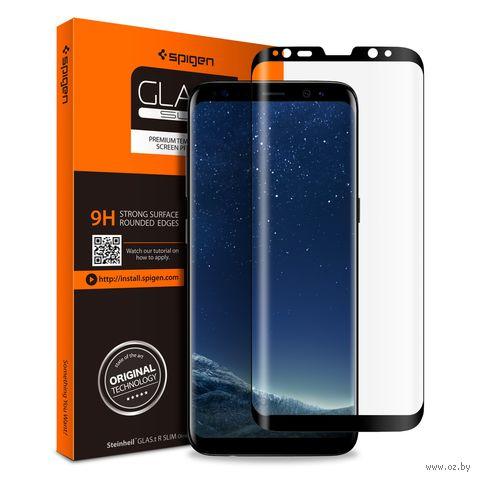 """Защитное стекло Spigen для Galaxy S8 """"Glas.tR Curved"""", черный (1шт) (565GL21777) — фото, картинка"""