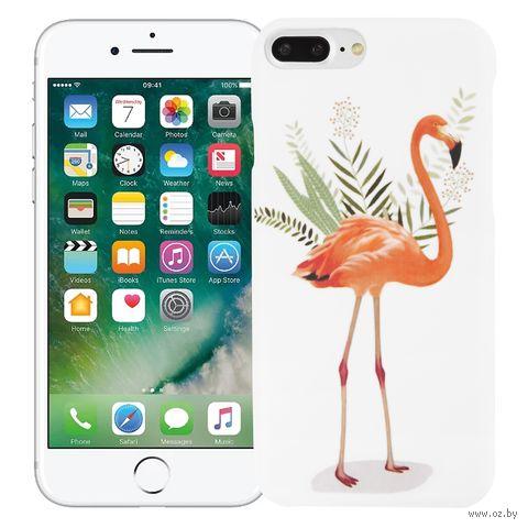 """Чехол для iPhone 7/8 Plus """"Фламинго в листьях"""" (белый) — фото, картинка"""