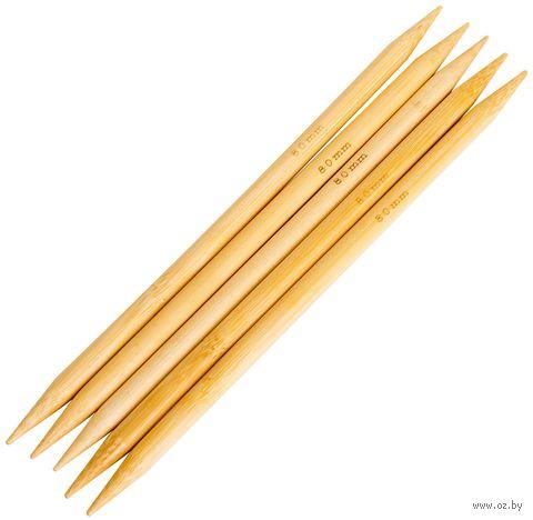 Спицы чулочные для вязания (бамбук; 8 мм; 20 см) — фото, картинка