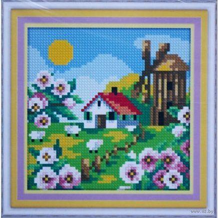 """Алмазная вышивка-мозаика """"Деревенская мельница. Весна"""" (150х150 мм) — фото, картинка"""