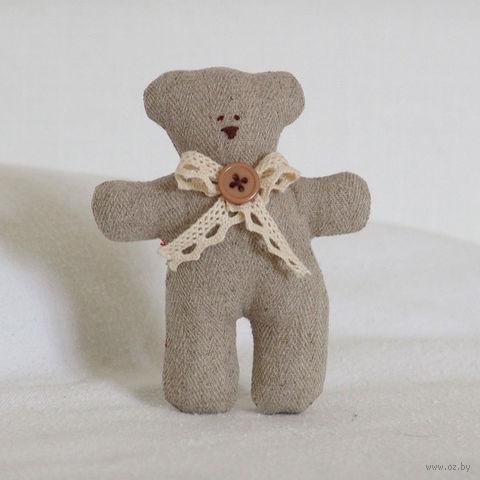 """Кукла ручной работы """"Медвежонок"""" (серый с пуговицей)"""