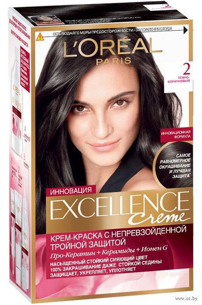 """Крем-краска для волос """"Excellence"""" (тон: 2, темно-коричневый) — фото, картинка"""