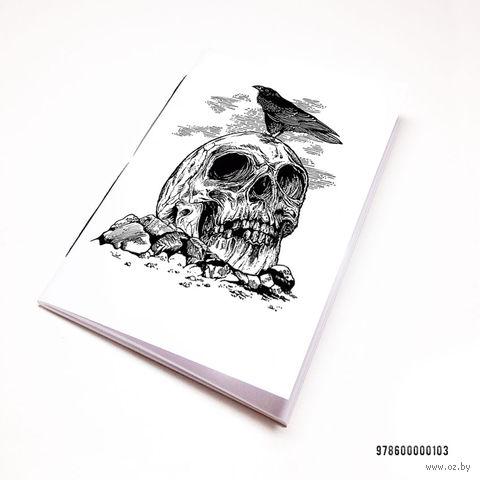"Блокнот белый ""Ворон и череп"" А7 (арт. 103)"