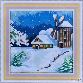 """Алмазная вышивка-мозаика """"Деревенская мельница. Зима"""" (150х150 мм) — фото, картинка"""