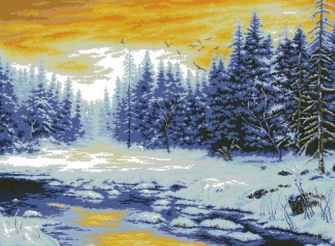 """Вышивка крестом """"Зимняя река"""" (590х440 мм) — фото, картинка"""