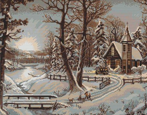 """Вышивка крестом """"Зимний пейзаж"""" (375х280 мм) — фото, картинка"""