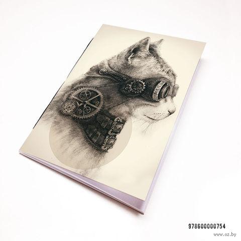 """Блокнот белый """"Стимпанк кот"""" А7 (754)"""