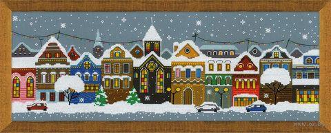 """Вышивка крестом """"Рождественский город"""" (600х210 мм) — фото, картинка"""