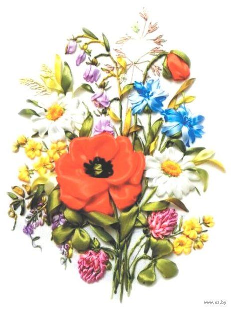 """Вышивка лентами """"Полевые цветы"""" (200х300 мм) — фото, картинка"""