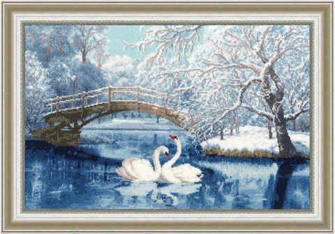"""Вышивка крестом """"Белые лебеди"""""""