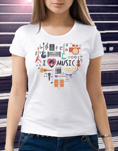 "Футболка женская ""Love music"" (размер 44; арт. 2) — фото, картинка"
