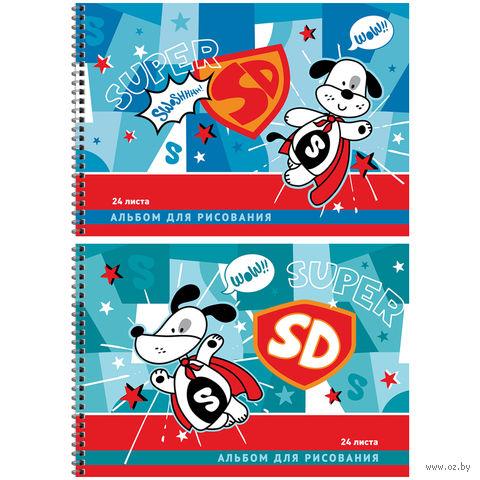 """Альбом для рисования на спирали А4 """"Мультяшки. Super Dog"""" (24 листа)"""