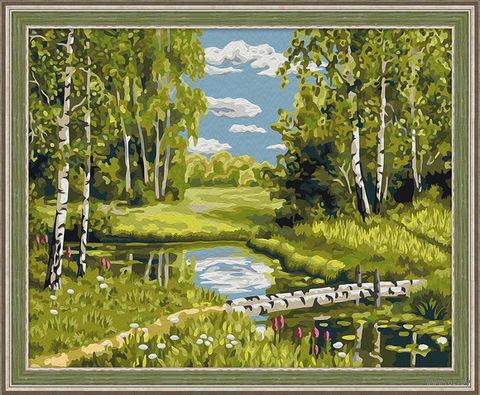 "Картина по номерам ""Березовый мостик"" (400х500 мм) — фото, картинка"