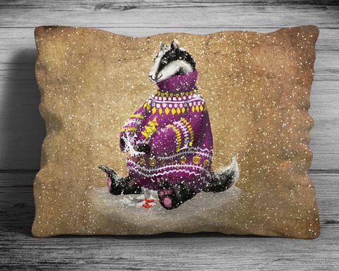 "Подушка ""Барсук"" (арт. 3; 28x38 см) — фото, картинка"