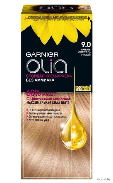 """Крем-краска для волос """"Garnier Olia"""" тон: 9.0, очень светло-русый — фото, картинка"""