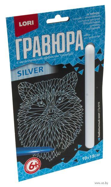 """Гравюра """"Любопытный енот"""" (серебро) — фото, картинка"""