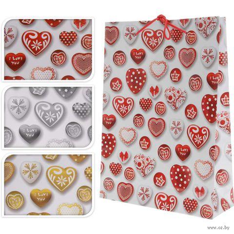 """Пакет бумажный подарочный """"Сердечки"""" (в ассортименте; 25х8,5х34,5 см; арт. ABD600270)"""