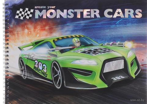 """Раскраска """"Create Your Monster Cars"""" (+ наклейки)"""