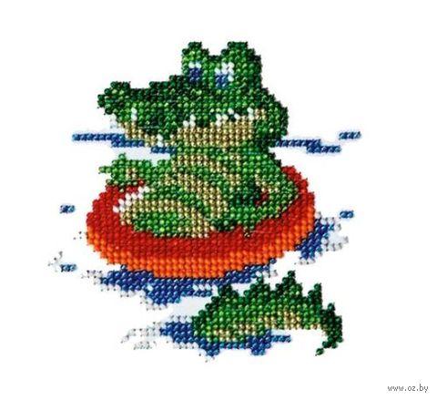 """Вышивка бисером """"Крокодил"""" (110х110 мм) — фото, картинка"""