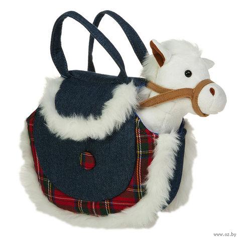 """Мягкая игрушка """"Лошадка в джинсовой сумочке"""" (16 см)"""