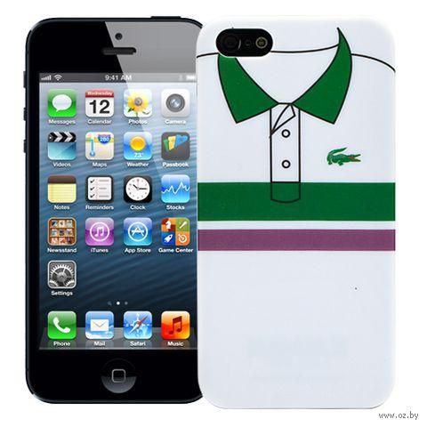 """Чехол для iPhone 5/5S """"Green and Purple Stripes"""" (белый) — фото, картинка"""