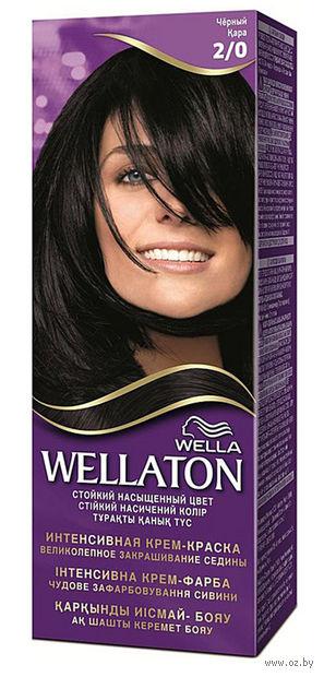 """Крем-краска для волос """"Wellaton"""" (тон: 2/0, черный)"""