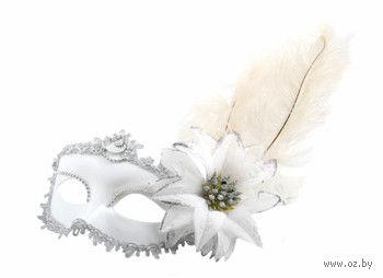 Маска с цветком и перьями