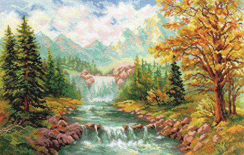 """Вышивка крестом """"Горный водопад"""""""