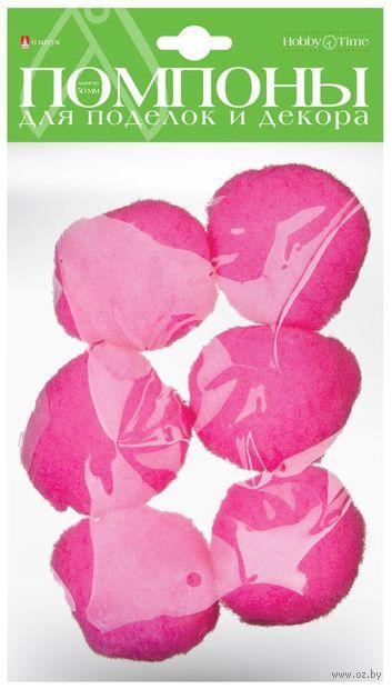 Помпоны пушистые №43 (6 шт.; 50 мм; нежно-розовые) — фото, картинка