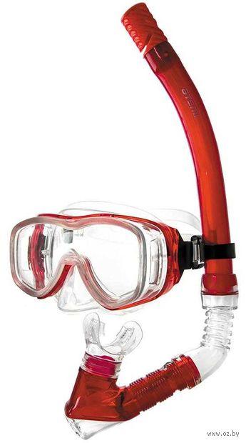 Набор для плавания (маска+трубка; красный; арт. 24104) — фото, картинка