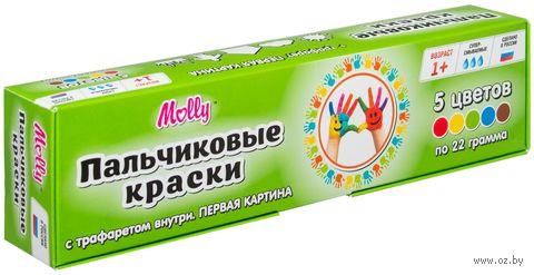 """Краски пальчиковые с трафаретом """"Первая картина"""" (5 цветов) — фото, картинка"""