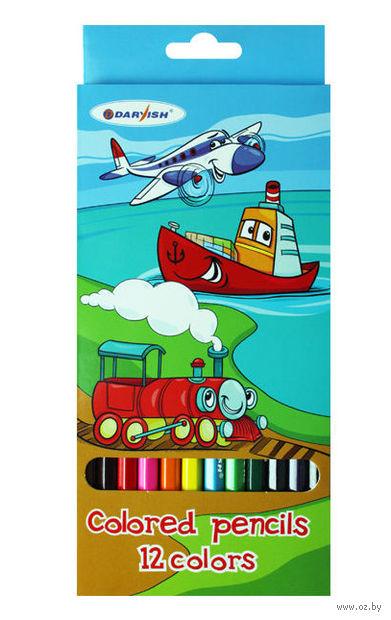"""Цветные карандаши """"Веселое путешествие"""" (12 цветов; арт. DV-4803-12)"""