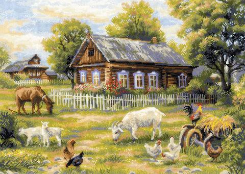 """Вышивка крестом """"Деревенский полдень"""" (500х350 мм) — фото, картинка"""