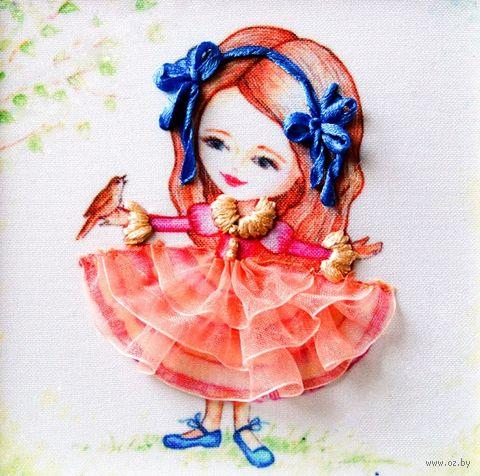 "Вышивка лентами ""Девочка"" (135х135 мм; арт. ВЛДС0008) — фото, картинка"