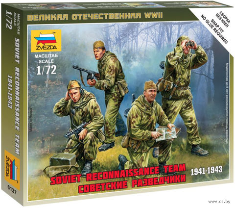 "Набор миниатюр ""Советские разведчики 1941-1943гг."" (масштаб: 1/72)"