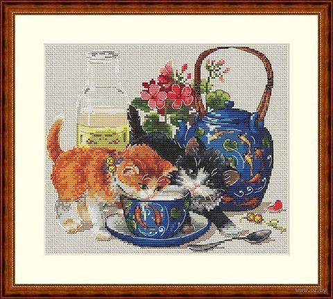 "Вышивка крестом ""Котята и молоко"" (230х200 мм) — фото, картинка"