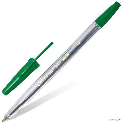 """Ручка шариковая """"Corvina"""" (прозрачная; зеленый стержень)"""