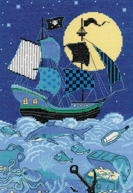 "Вышивка крестом ""Пиратский корабль"" (210х300 мм) — фото, картинка"