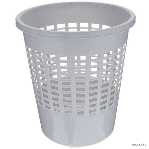 Корзина для бумаг пластмассовая (10 л; серая)