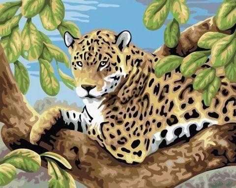 "Картина по номерам ""Леопард в лесу"" (300х400 мм) — фото, картинка"