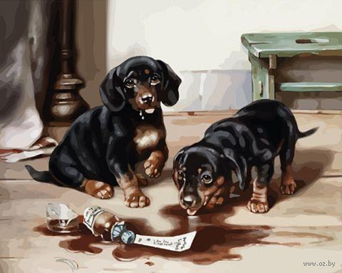 """Картина по номерам """"Два щенка"""" (400х500 мм) — фото, картинка"""