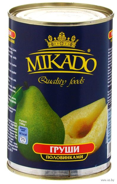 "Груши в сиропе ""Mikado. Половинками"" (425 мл) — фото, картинка"
